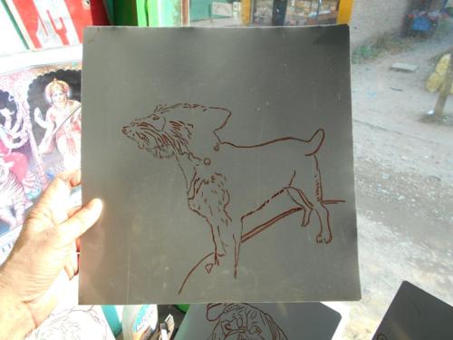 Folk art Rat Terrier portrait hand painted on metal in Nepal