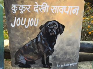 Folk art beware of dog portrait of a bouvier de Flandres and Boston Terrier dog.
