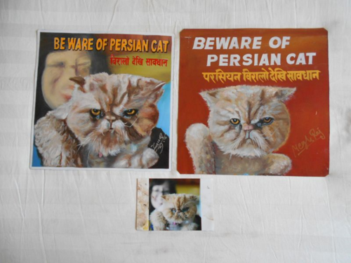 Folk art portraits of a Persian Cat hand painted on metal in Nepal