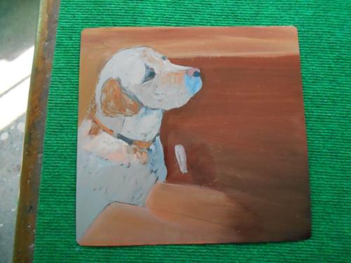 Folk art Labrador Dog hand painted on metal in Nepal