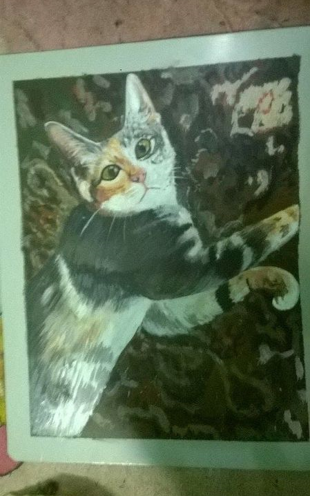 Folk art Tabby Cat hand painted on metal in Nepal