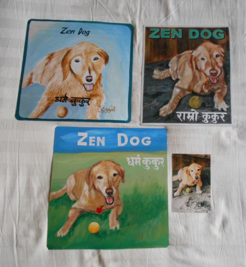 Folk art Yellow Labrador hand painted on metal in Nepal