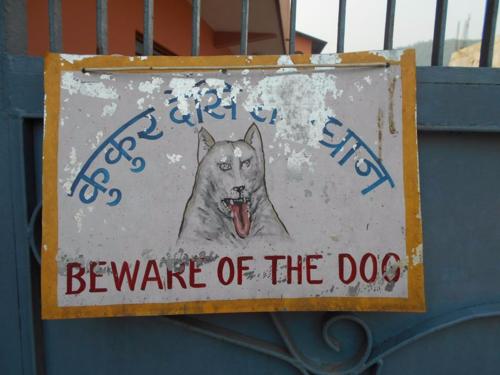 folk art beware of dog sign in Nepal