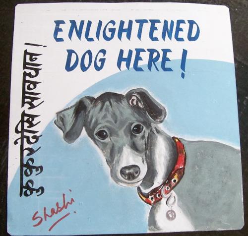 Folk art portrait of an Italian Greyhound hand painted on metal in Nepal