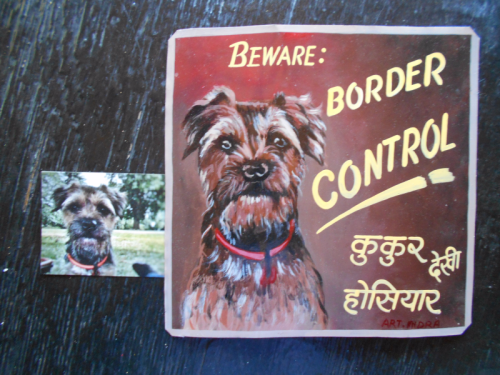 Folk art beware of Border Terrier hand painted on metal in Nepal