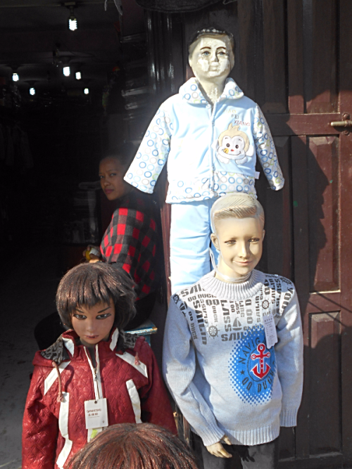 Street urchin mannequins in Kathmandu
