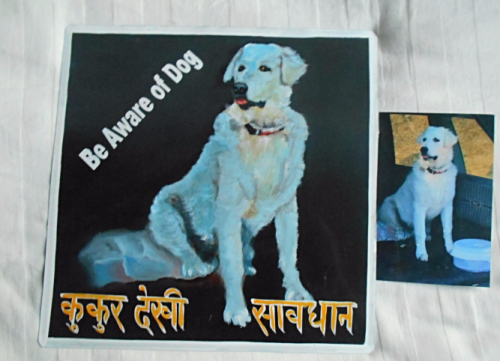 Folk art beware of Kuvasz hand painted on metal in Nepal