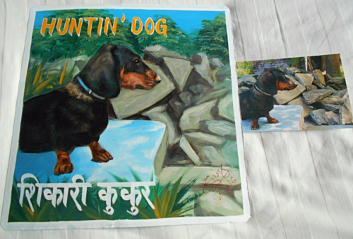 Folk art beware of Dachshund sign hand painted on metal in Nepal