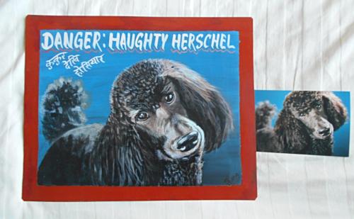 Folk art beware of Black Standard Poodle hand painted on metal in Nepal
