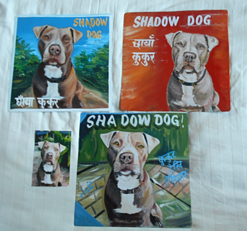 Folk art beware of American Staffordshire Terrier hand painted on metal in Nepal