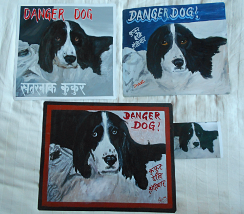 Folk art beware of Springer Spaniel hand painted on metal