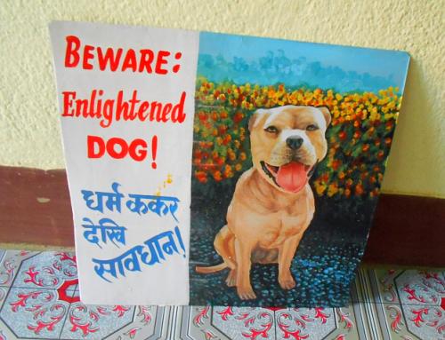 Folk art portrait of an American Staffordshire Terrier hand painted on metal in Nepal