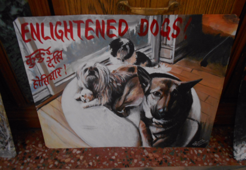 Folk art portrait of Shih Tzu dogs and a German Shepherd hand painted on metal in Nepal