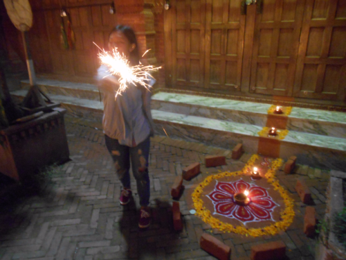 Sparklers and Rangoli on theBoudha Stupa