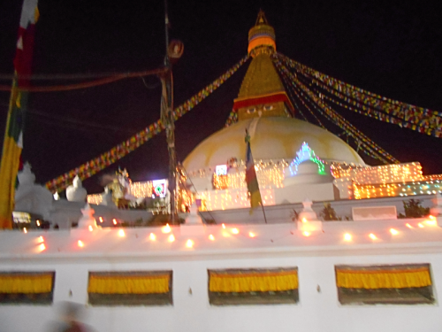 Boudha Stupa covered in lights