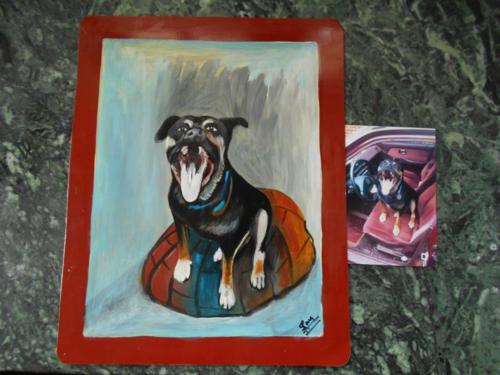 Folk art Beware of Dog sign hand painted on metal