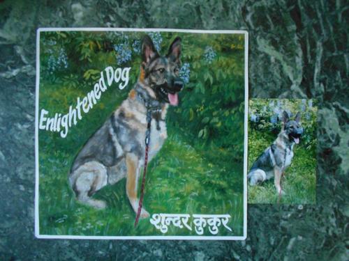 Folk art German Shepherd hand painted on metal