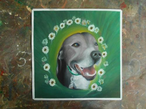 Folk art Staffordshire Terrier hand painted on metal