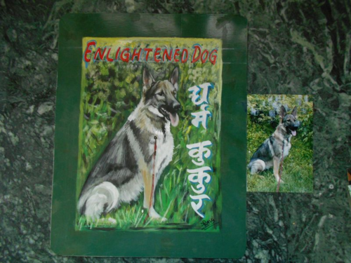 Folk art German Shepherd hand painted on metal in Nepal