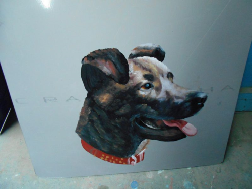 Folk art Staffie hand painted on metal in Nepal