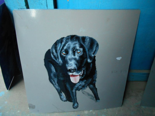Folk art Black Lab hand painted on metal