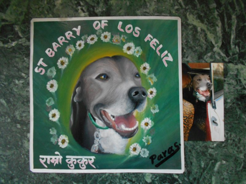 Folk art Dog hand painted on metal in Nepal
