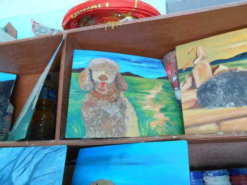 Folk art Standard Poodle hand painted on metal in Nepal
