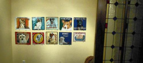 Folk art beware of dog signs hand painted by artists in Kathmandu, Nepal