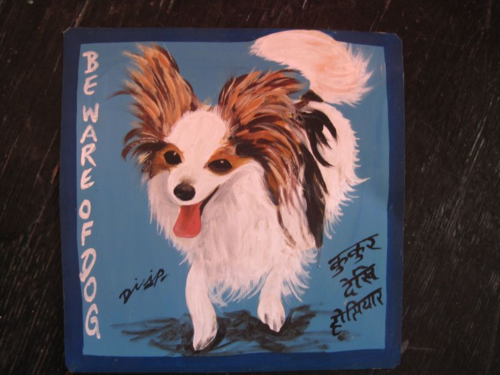 Folk art portrait of a Papillion hand painted on metal by a signboard artist in Kathmandu, Nepal