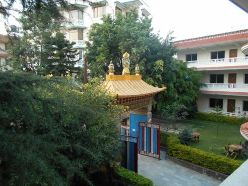 Tharlam Monastery gardens in Boudha, Nepal