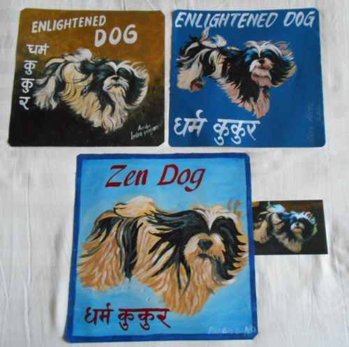 folk art Shitzu hand painted on metal in Nepal