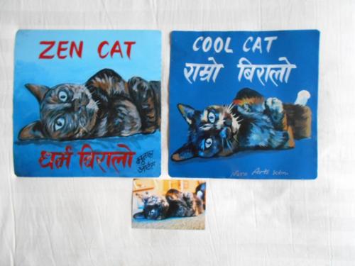 Folk art Tortie Calico hand painted on metal in Nepal