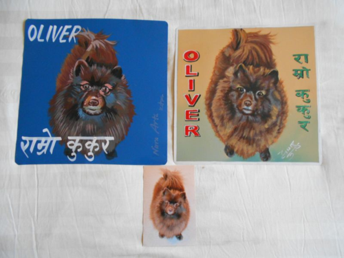 Folk art Chocolate Pomeranian hand painted on metal in Nepal