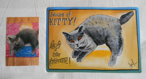Folk art Cat hand painted on metal by a sign painter in Nepal
