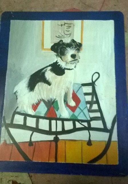 Folk art Jack Russell Terrier hand patined on metal in Nepal
