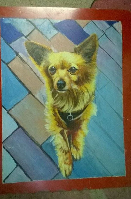 Folk art Golden Chihuahua hand painted on metal in Nepal