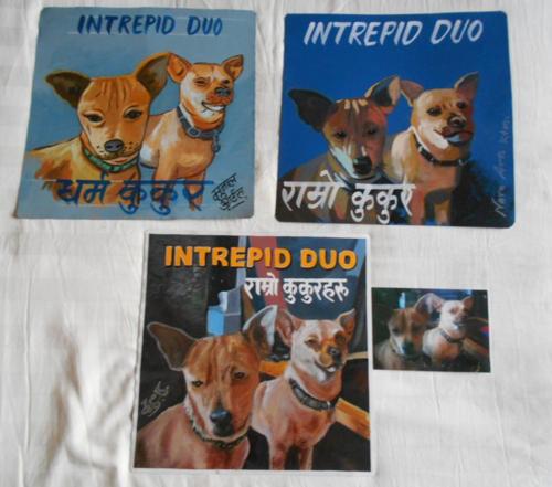 Folk art beware of Chihuahuas hand painted on metal in Nepal
