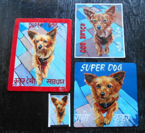 Folk art Chihuahua hand painted on metal in Nepal