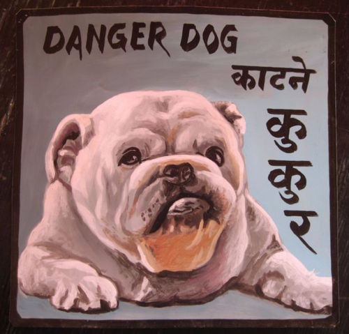 Folk art portrait of an English Bulldog hand painted on metal by a sign painter in Nepal