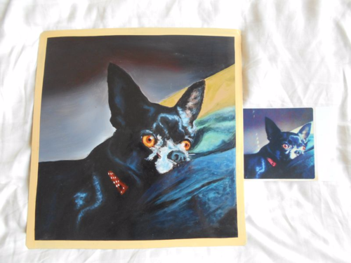 Folk art portrait of a Chihuahua hand painted on metal in Nepal