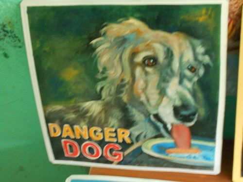Folk art portrait of a Borzoi hand painted on metal by a sign painter in Nepal