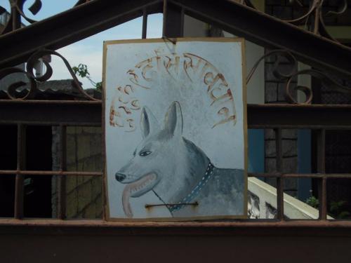 Folk art beware of dog art hand painted in Nepal
