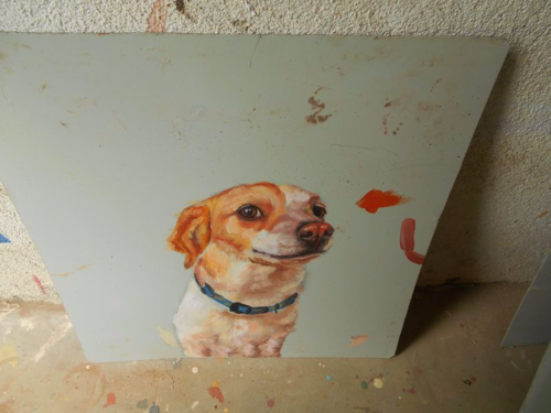 folk art portrait of a Jack Russell mix dog hand painted on metal in Nepal