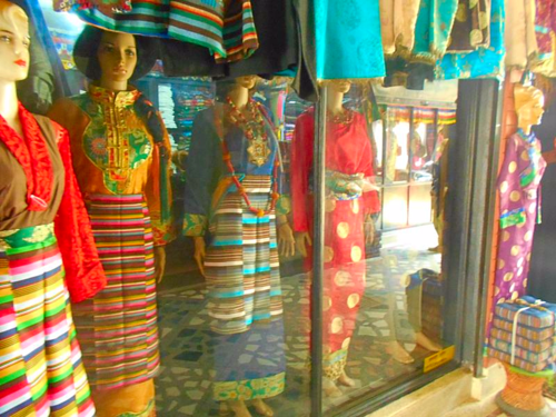 Mannequins in Tibetan dress in Boudha, Nepal