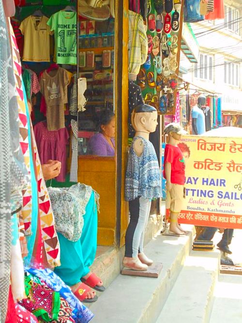 Child mannequins on the streets of Boudha, Kathmandu, Nepal