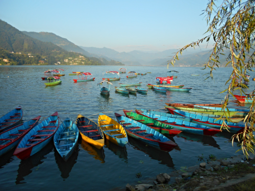 Boats along the shore of Lake Fewa