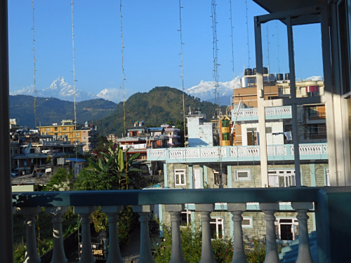 Fishtail Mountain seen from Hotel Green Tara in Pokhara