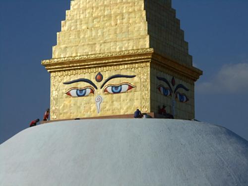 Close up of renovated Boudha Stupa, including Buddha's eyes