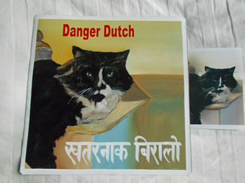 Folk art Beware of Tuxedo Cat hand painted on metal in Nepal