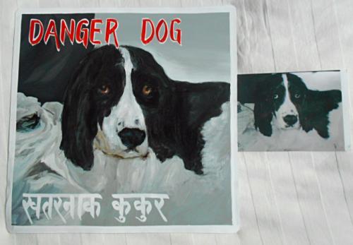 Folk art beware of Springer Spaniel hand painted on metal in Nepal